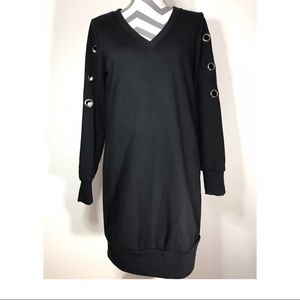*SOLD* Skies are blue black sweatshirt dress